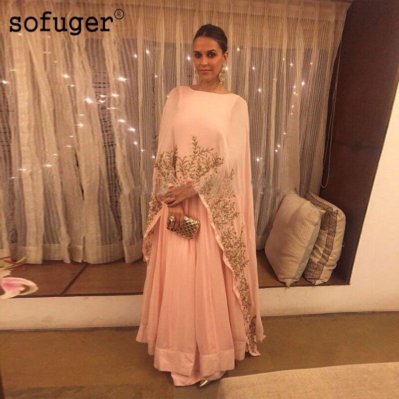 Peach Pink Muslim   Evening     Dresses   Golden Lace Appliques Chiffon Plus Size Saudi Arabic Formal   Evening   Special Occasion Women