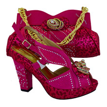 Fuchsia Wholesale African Party Shoes And Bag Lovely Italian Matching Shoes And Bag Lowest Price !MVB1-18