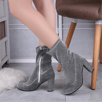 Women S Socks Boots Stretch Fabric Winter Comfort Slouch Boots Chunky Heel Mid Calf Combat Boots
