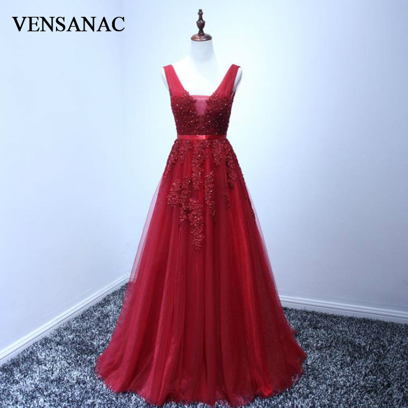 VENSANAC New A Line 2017 Broderi långa kvällsklänningar Ärmlös Elegant Lace Sweep Train Party Prom Kappor