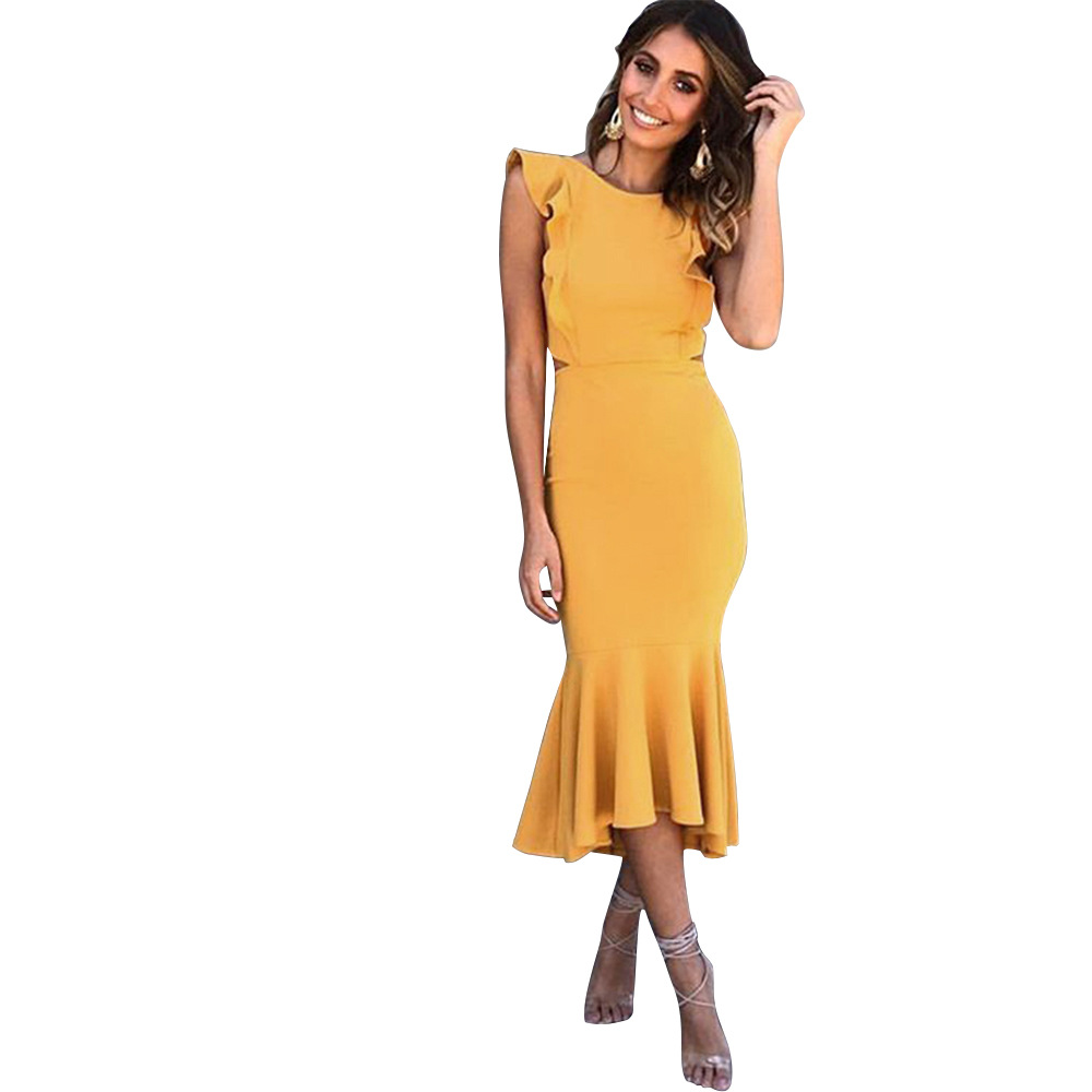 S XL lady sleeveless slim fishtail dress night evening party midi dress slim summer spring winter casual leisure brand dress in Dresses from Women 39 s Clothing