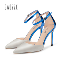 GAOZZE Ankle Strap Cover Heel Sandal For Women Shoes Women Sandals High Heels Leather Female Pointed Toe Elegant Party Sandals