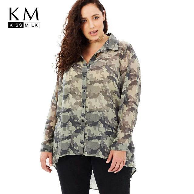 9abf4e733839c Kissmilk 2018 Plus Size Women Brief Blouses Large Size Camouflage Printed  Female Clothing Big Size Cacual Lady Tops 3XL-7XL