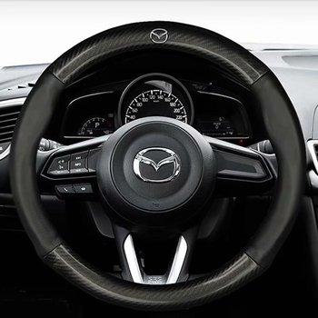 Kierownicy samochodu pokrywa koła 37 38cm 15 #8222 dla Mazda6 Atenza Demio Axela Mazda3 8 CX-3 CX-4 CX-5 CX-8 CX-9 BT-50 Mazda5 MPV Premacy tanie i dobre opinie ENJOYTOUR 45cm 45inch 10inch 0 5kg Górna warstwa skóry non-slip 37-38cm Kierownice i piasty kierownicy full black black with red