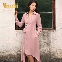 VERRAGEE Brand 2017 New Autumn Winter V Neck Irregular Dress Women Frenulum Pure Color A Line