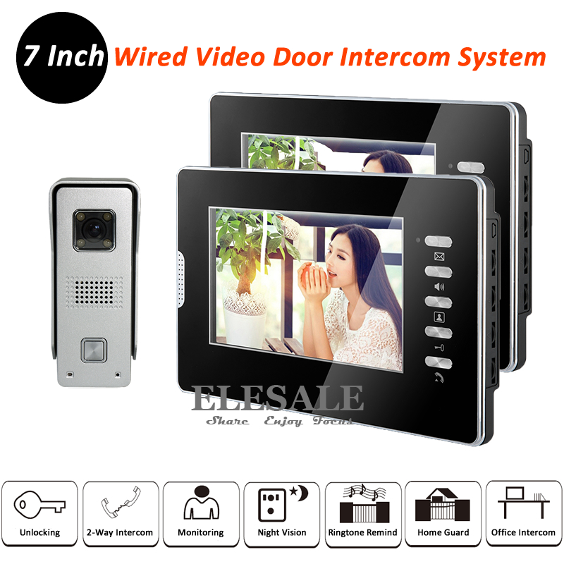 New Home Wired Video Door Intercom System Rainproof Doorbell Camera 2x 7 LCD Monitors IR Night Vision For Apartment In Stock 2017 new wired video doorbell intercom doorphone for apartment security camera infrared night vision monitoring 1v4 freeshipping