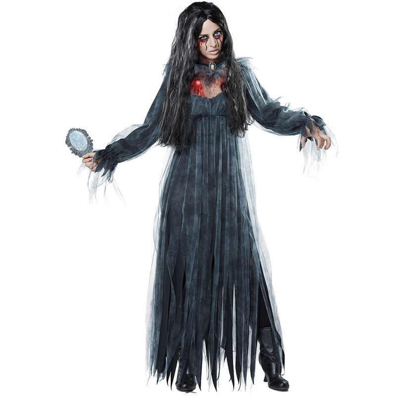 Halloween cementerio Zombie traje de novia fantasma gótico escalofriante vestido de fantasía para mujeres adultas tamaño M-XL
