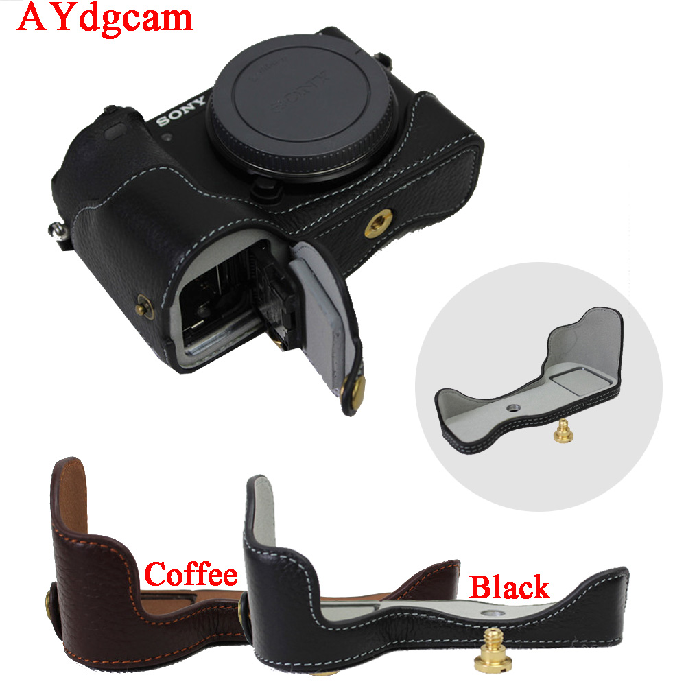 New Genuine Leather <font><b>Camera</b></font> Case Bag For <font><b>Sony</b></font> ILCE <font><b>6500</b></font> A6500 <font><b>Camera</b></font> Half Bag Bottom Case With Open battery Design image