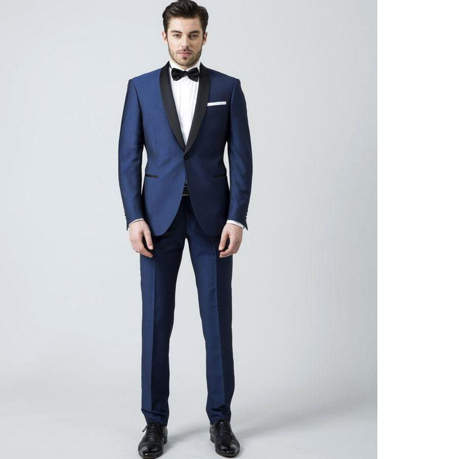 Dark blue shawl collar font b men s b font font b suit b font Christmas