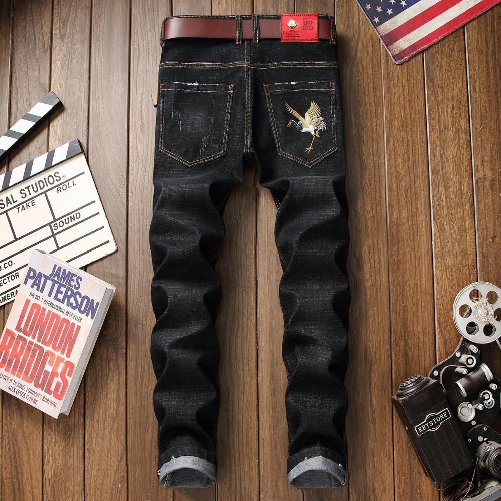 Brand Embroidered New Jeans Men's Station Elastic Fitness Straight Skinny Pants Distressed Brand Men's Robin Jeans Destroyed