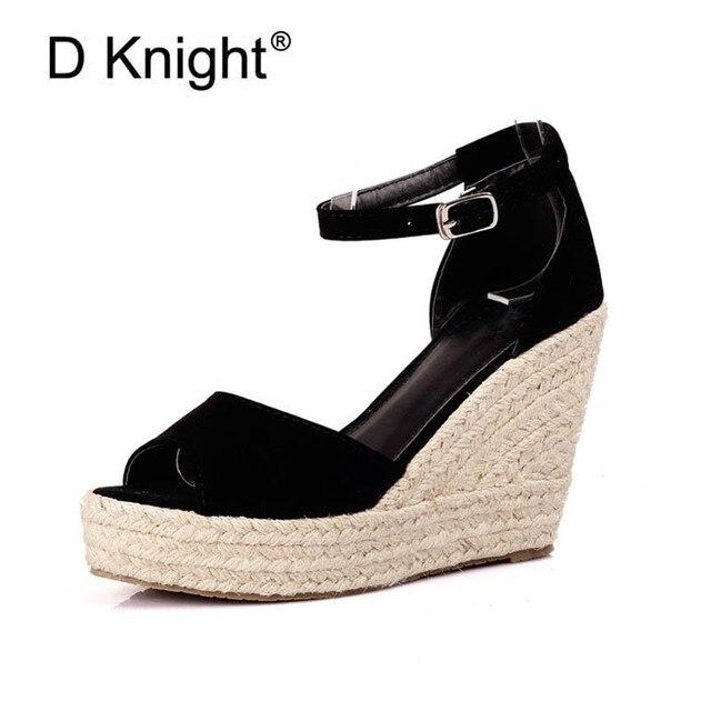 693cb2dcbbc New Women s Open Toe Platform Wedge Sandals Elegant Bohemia Straw Braid Wedge  Sandals For Women Ladies Casual High Heels Sandals