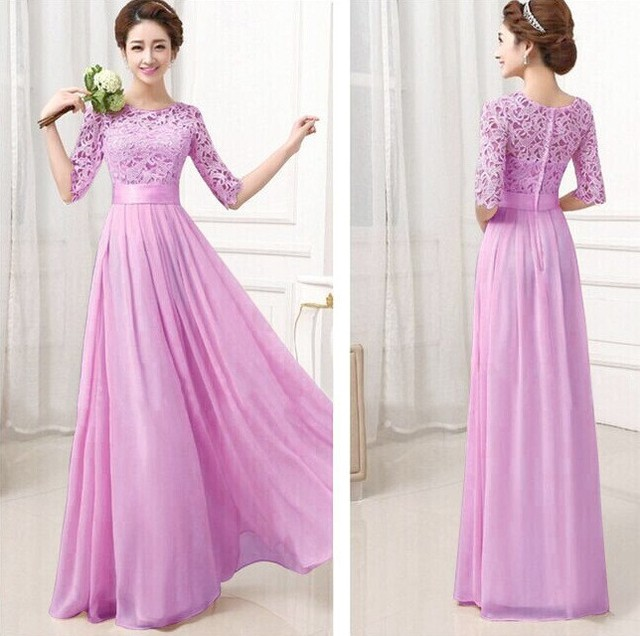 In Stock Bridesmaid Dresses Half Sleeve Scoop Lace Chiffon Long ...