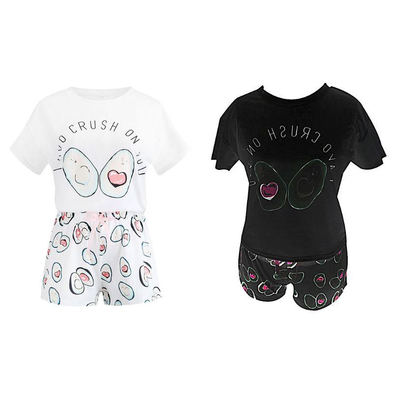 Women Girls Summer   Pajamas     Set   Cute Cartoon Avocado Letters Printed Short Sleeve Loose Tops Bowknot Shorts Sleepwear Loungewear