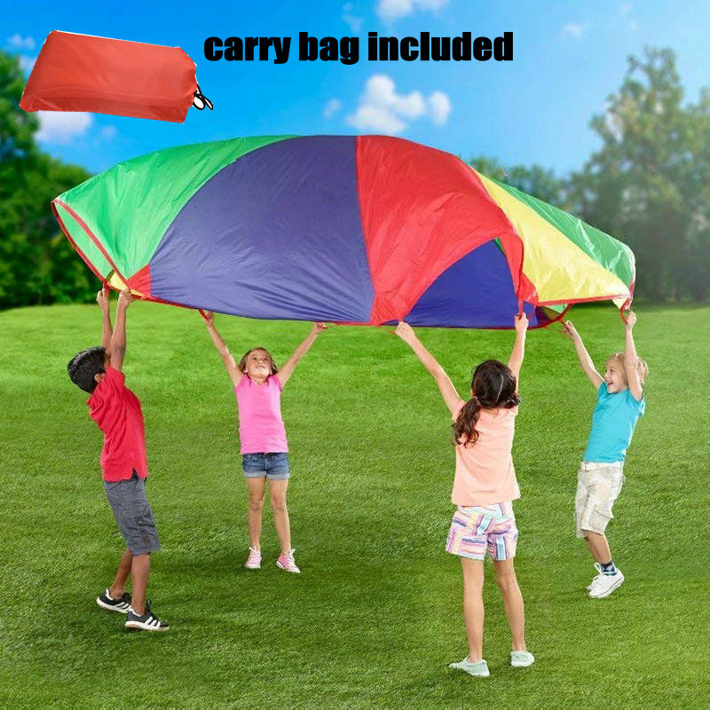 Kids Play Parachute of 29.5feet/9meters with 40 Handles, Big Rainbow Parachute for 50-60 Kids, Exercise Toy Rainbow Tent kids parachute toy with handles play parachute tent mat cooperative games birthday gift lbshipping