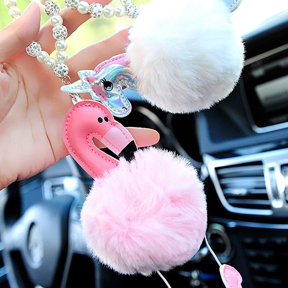 Rationeel Auto Hanger Flamingo Eenhoorn Decoratie Opknoping Ornamenten Leuke Automobiles Interieur Achteruitkijkspiegel Pluizige Bont Schorsing Decor