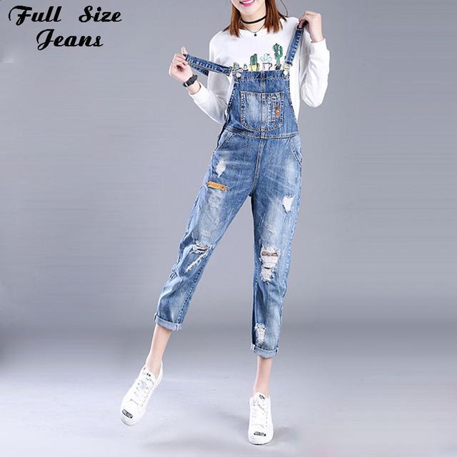 Coreano Moda Plus Size Luz Azul Calças Romper 4Xl 5Xl 6Xl 7Xl Superdimensionada Mulheres Macacão Jeans Rasgado Com Grande Buraco