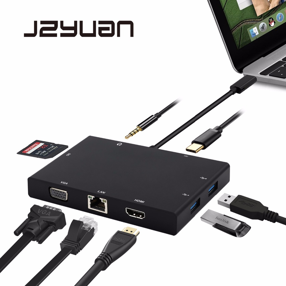 JZYuan USB C 3.1 Type C HUB to HDMI VGA RJ45 Gigabit Ethernet USB 3.0 SD Card Reader 3.5mm Audio PD Charge Adapter For Macbook aoeyoo uc 05 usb 3 1 type c to gigabit ethernet adapter with pd