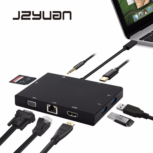JZYuan USB C 3.1 Type C HUB to HDMI VGA RJ45 Gigabit Ethernet USB 3.0 SD Card Reader 3.5mm Audio PD Charge Adapter For Macbook