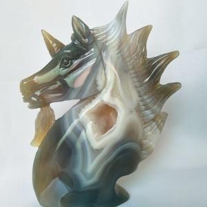 Image 4 - A Doğal taş akik oyma unicorn kristal kafatası kristaller geode küme yaratıcı oyma ev dekorasyon asil ve saf