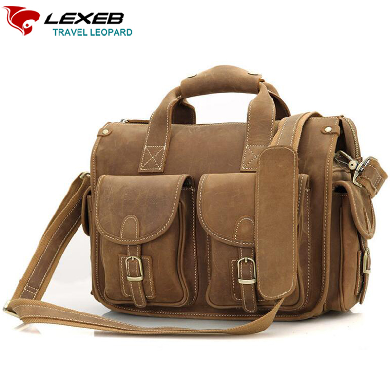 LEXEB Brand Brown Leather Messenger Post Satchels Bags Men High Quality Vintage Crazy Horse Bag For 13.3 Laptop Attache Koffers