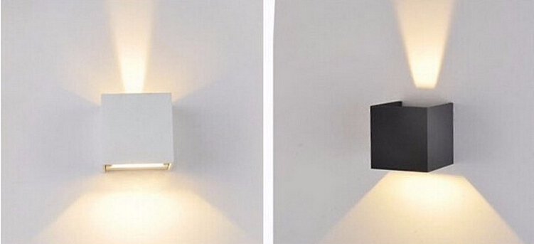 7W Led Outdoor Wall Lamp IP67 ASWAY Surface Mounted Outdoor Cube Led Wall Light,Aluminum White/Black Up And Down Wall LampY-D127