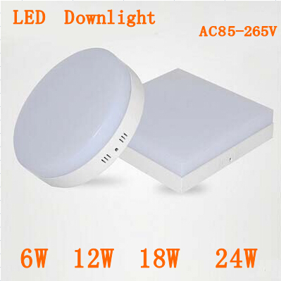 New Surface mounted 6w 12w 18w 24w AC85 265V led downlight panel font b light b