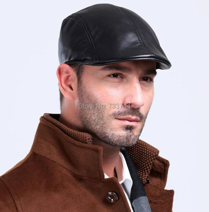 men s cool real sheep leather black hat beret Golf Beanie baseball hat cap  leather hat-in Holidays Costumes from Novelty   Special Use on  Aliexpress.com ... 747b3dafcde
