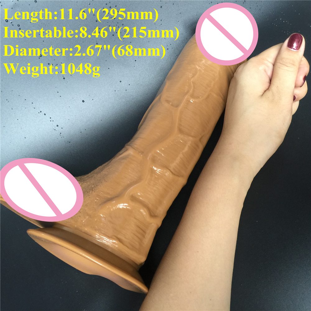 11.6 inch D: 6.8 cm Big Dildo Super huge Thick Dildos Sturdy Suction Cup realistic Penis Dick for Women Horse Dildo sex toy 32 5 7cm big dildo super huge thick giant dildos sturdy suction cup realistic soft penis dick for women horse dildo sex toy