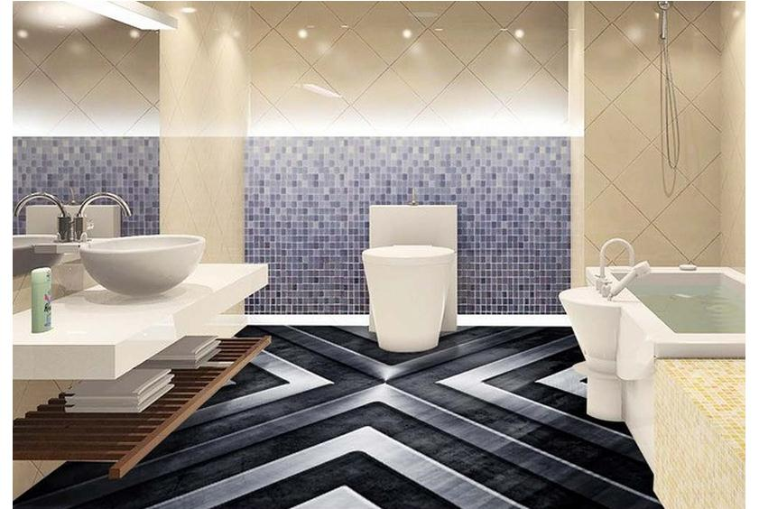 Customized Floor Painting Wallpaper Metal Machinery Sitting Room Bathroom 3 D Tile Pvc Living Decoration In Wallpapers From Home Improvement