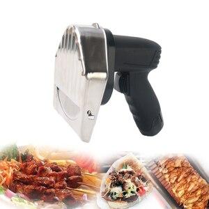 Image 2 - Лидер продаж Беспроводной слайсер для кебаба с Батарея шаурма Донер Ножи Турция Электрический Гироскопы Разделки мяса Еда машина 110V 220V