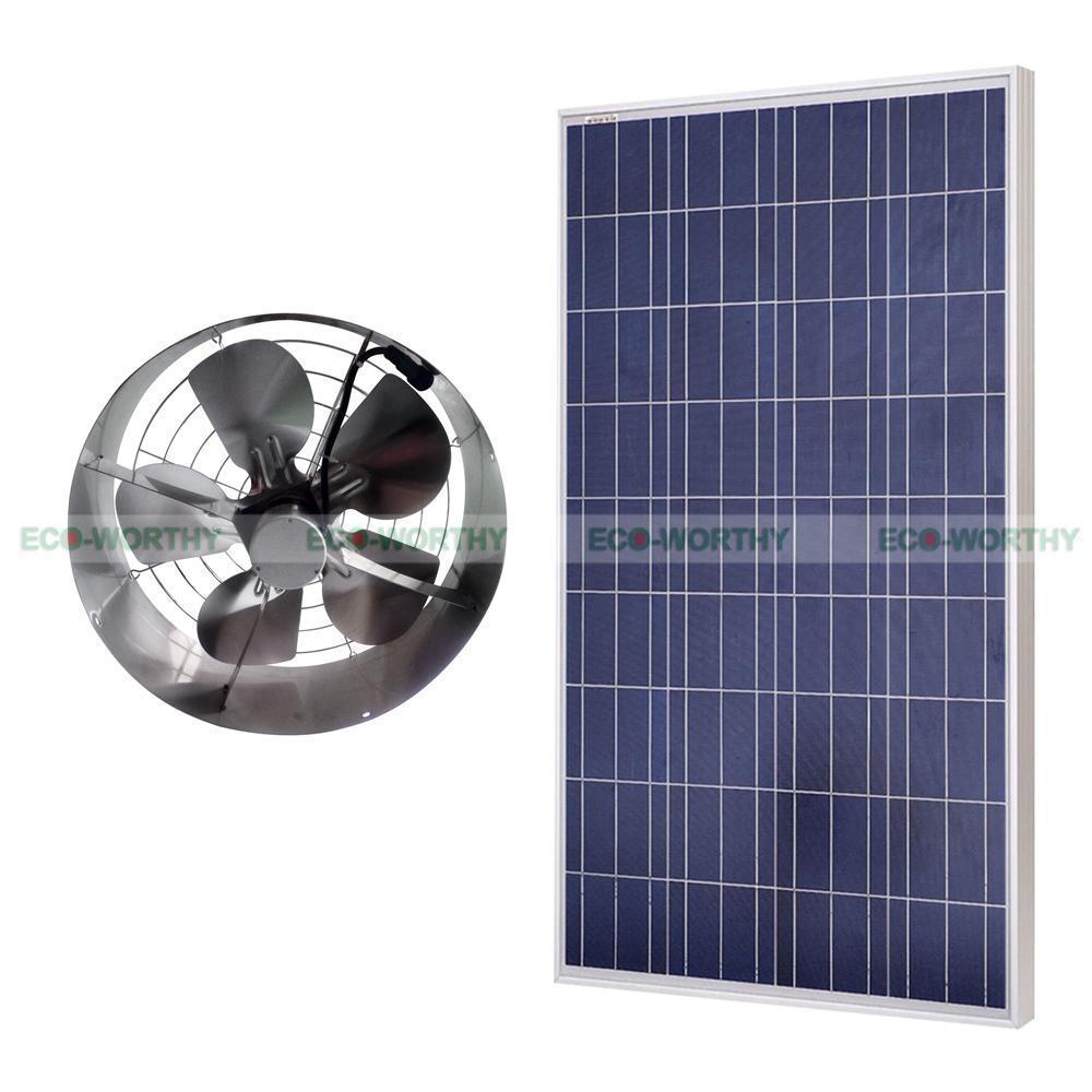 12VDC 65W 3000 CFM Solar Powered Exhaust Fan Roof Vent Ventilator & 100W Poly Solar Panel