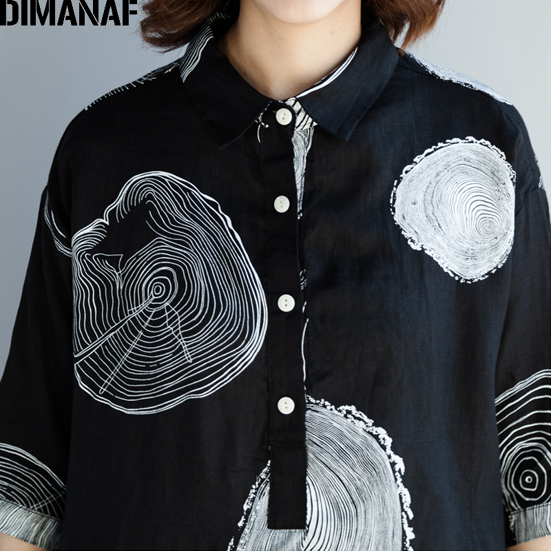 DIMANAF Women Blouse Shirts Plus Size Female Clothing Print Paisley Cotton Thin Basic Tops Loose Half Sleeve Blouse Summer 2018 5