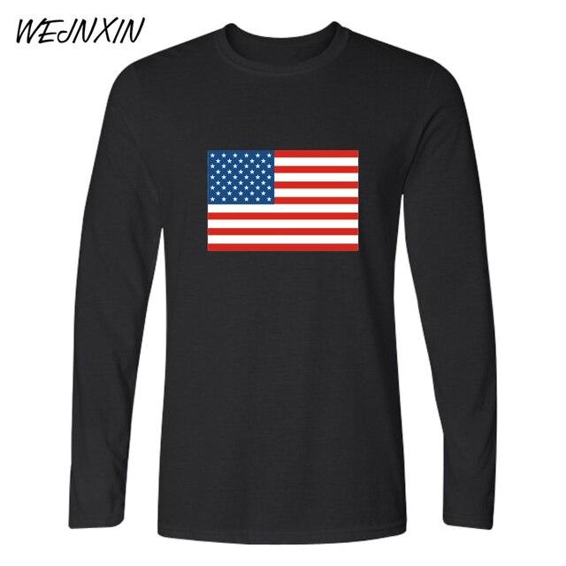 90b00b41f4 WEJNXIN Inverno Camisetas de Manga Longa de Algodão Da Bandeira Dos Estados  Unidos Bandeira Camisa de