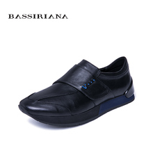 BASSIRIANA new spring and autumn men's casual sports shoes hook & loop convenient and comfortable natural leather men's shoes