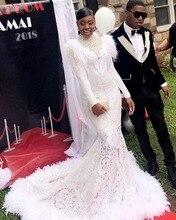 יוקרה קריסטל גבוה צוואר לבן בת ים אפריקאי שמלה לנשף עם שרוולים ארוכים נוצות רכבת בתוספת גודל סיום ערב שמלות