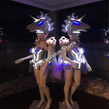 AS98-2 Lady/men Catwalk wears Singer Cosplay stage Colorful LED light ballroom costumes party dance/Bar dj disco suit show cloth
