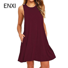 ENXI Elasticity Maternity Dresses Summer Clothes For Pregnant Women Clothing O-neck Sleeveless Slim Pregnancy Dress 2018
