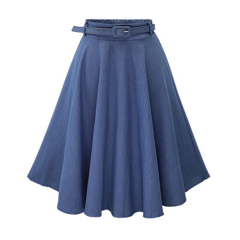 High Quality Women Skirt 2017 Top Fashion Denim Skirts One Size Ladies High Waist A line Skirts ...