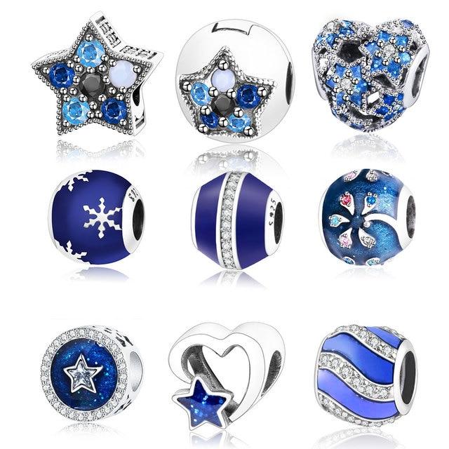 Fit Original Pandora Charm Bracelets Blue Enamel Zircon Charms Authentic 925 Sterling Silver Beads Women Diy