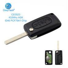 OkeyTech CE0523 para llave remota Citroen 433Mhz ID46 PCF7941 Chip botón de luz VA2 hoja preguntar Flip 3 botón para C2 C3 C4 C5 C6 C8
