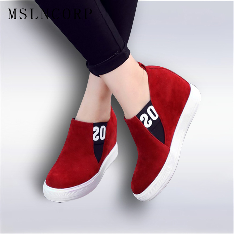 Plus size 34-43 Fashion Wedge Shoes Hidden Heels Womens Elevator Shoes Platform Casual Shoes For Women Slip-On Wedge Black gray