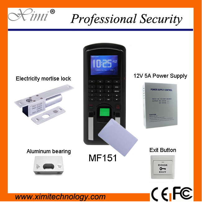 Fingerprint access control system MF151 13.56MHz Mifare reader password keyboard + electrical interlock toolbox (office/house