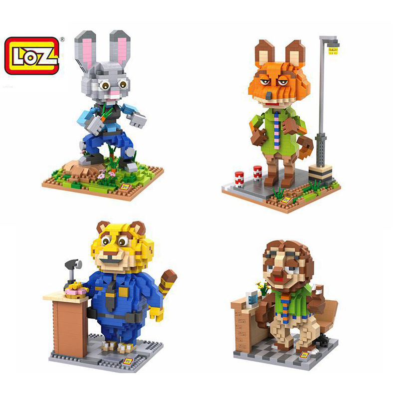4pcs/lot LOZ Diamond Building Blocks Full Set Cartoon Animal Zootopia Judy Nick Benjamin Flash3D Animals Model Educational Toys