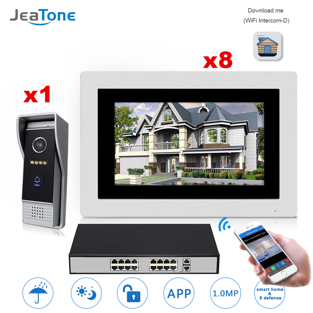 7'' WIFI IP Video Door Phone Intercom Door Bell Villa Access Control System Touch Screen Motion Detection 1 to 8 with POE Switch