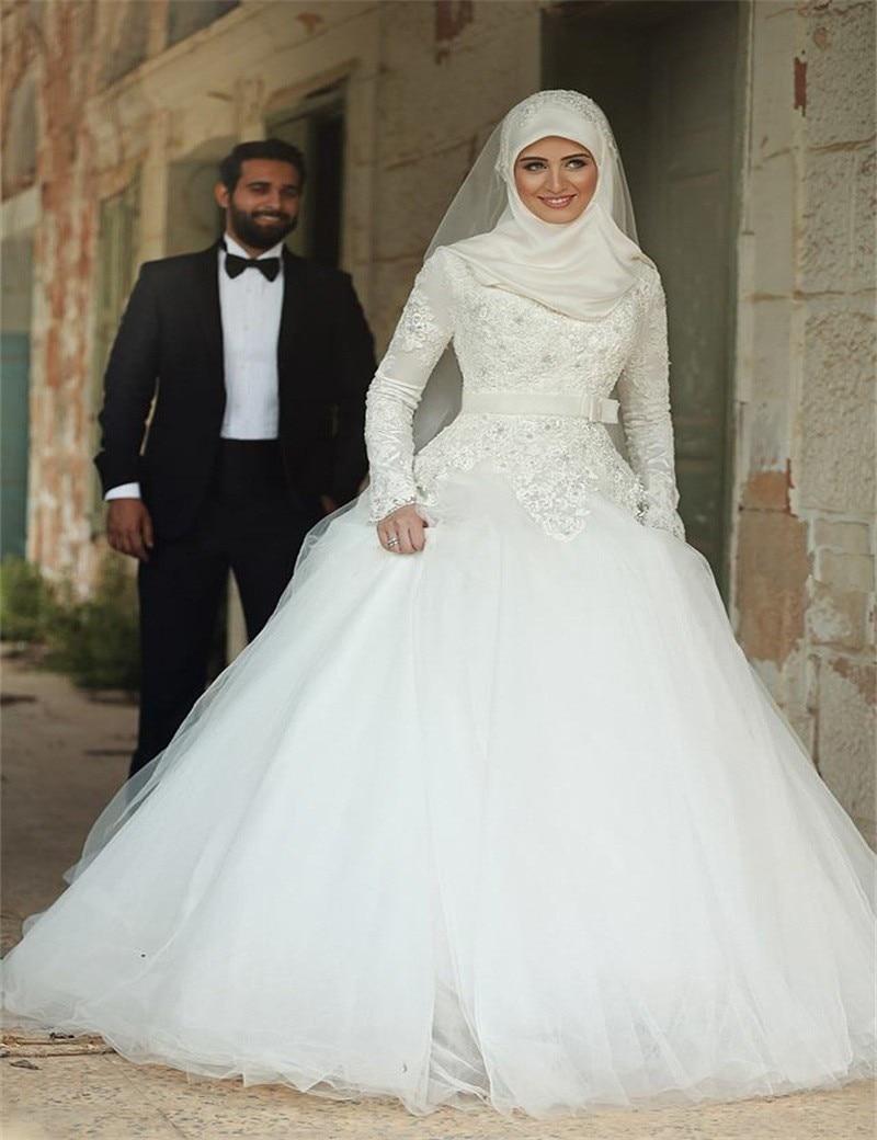 Muslim Dubai Arab Wedding Dresses 2016 Long Sleeves High ...