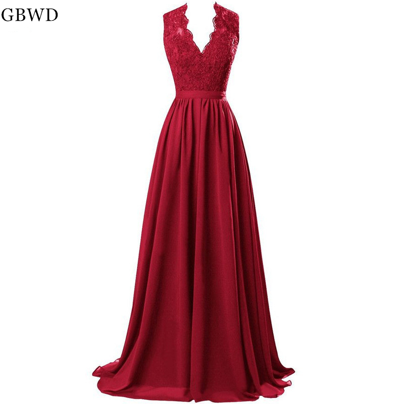Cheap 2019 Elegant Burgundy A-line Evening Dresses Long Sexy V-neck Lace Prom Dress Simple Evening Gowns Платье