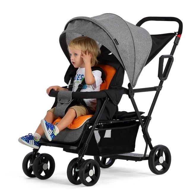 6cce9f6ed Ligero tándem cochecito asiento de atrás puede cargar 2-5ages niños plegable  mellizos cochecito puede