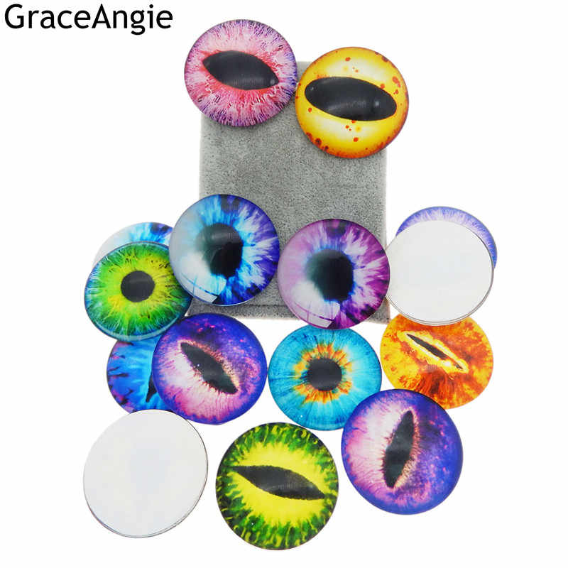 GraceAngie 40mm Glass Cameo Cat Animal Eye for Doll Making Dragon Eye Clear Jewelry Flatback Cabochon Kid toy Making Accessory