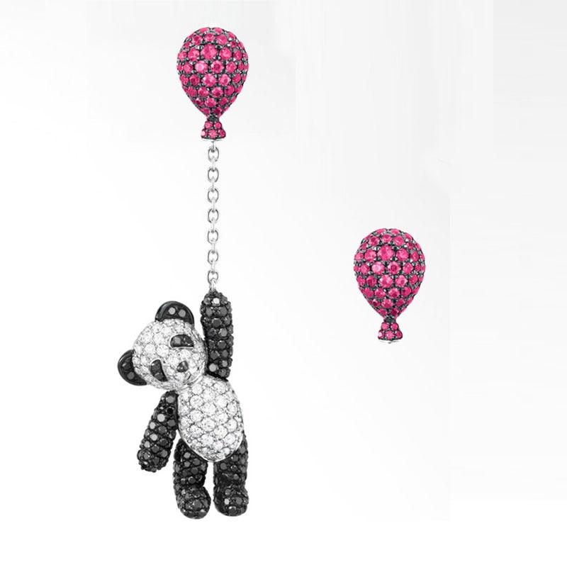 Crystal Jewelry Balloon Panda Pendant Ear Drop of Asymmetric Luxury Quality Zircon Drop Earrings Cute Animal Chains Earrings