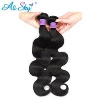 Ali Sky Peru Body Wave Tóc 100% Tóc dày Con Người bó 8-26 inch dệt có thể mua 3/4 bundles đen Không Remy phần mở rộng tóc